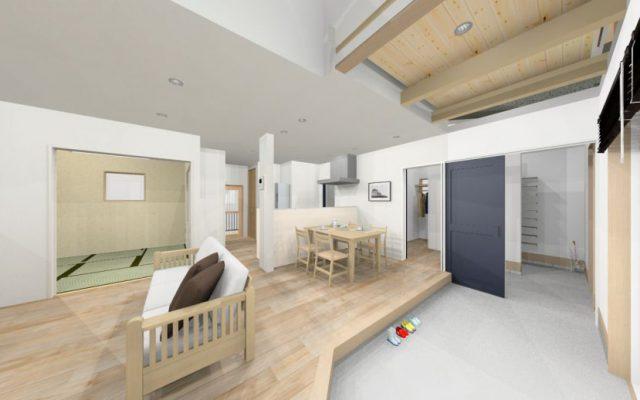 吹抜けと 土間の在る開放的で高断熱長寿命の家 新築 常滑市内 着工
