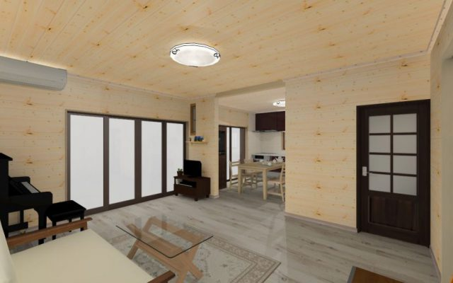 壁も天井も 無垢板の羽目板の内装で 木に囲まれたい 半田市内 着工
