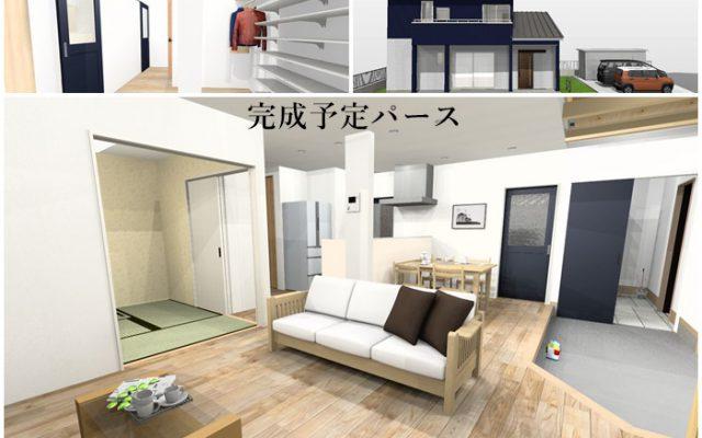 吹抜けと 土間の在る開放的で高断熱長寿命の家 新築 常滑市内 完成